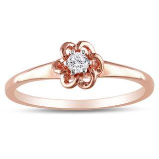 Miadora 10k Pink Gold 1/10ct TDW Diamond Flower Ring