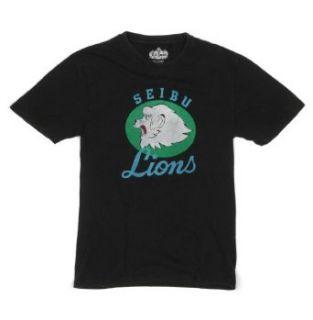 Seibu Lions Japanese Baseball Retro Logo Black T Shirt by