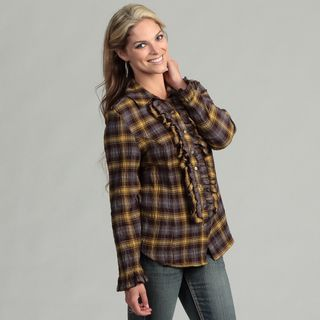 Live A Little Womens Plaid Ruffle Shirt