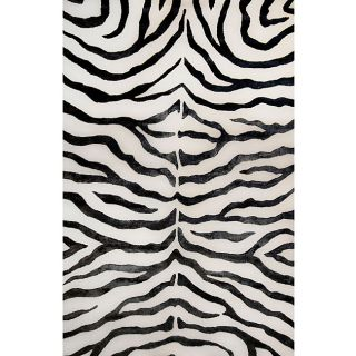 Handmade Alexa Zebra Black Wool/ Faux Silk Highlights Rug (86 x 116