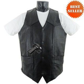 Tall Mens Leather Motorcycle Vest with Gun Holsters MV102 Tall