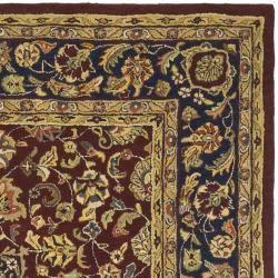 Handmade Classic Kerman Burgundy/ Navy Wool Rug (8 Square
