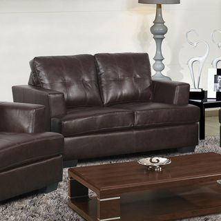 Nova Dark Brown Bonded Leather Love Seat
