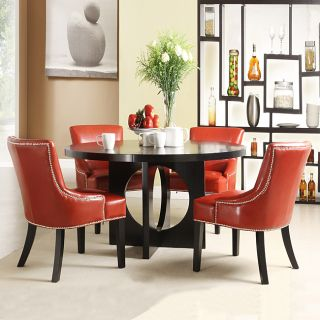Westmont 5 piece Hot Red Faux Leather 54 inch Round Dining Set