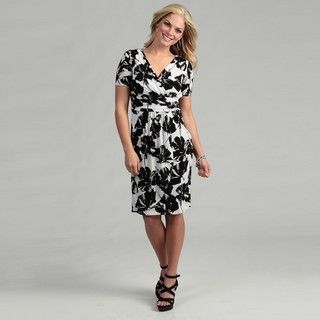Evan Picone Womens Off White/ Black Floral Dress