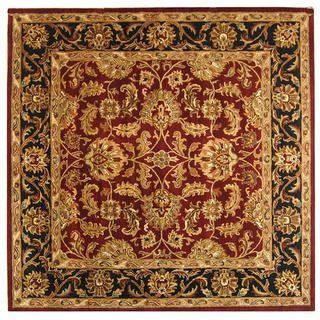 Handmade Heritage Kashan Burgundy/ Black Wool Rug (4 Square