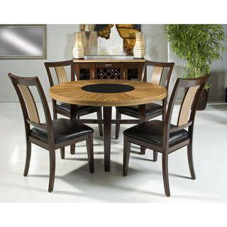 Zebrawood Veneer 5 piece Round Dining Set with Black Glass Insert