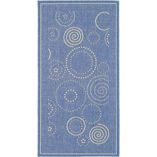Indoor/ Outdoor Ocean Blue/ Natural Rug (4 x 57)
