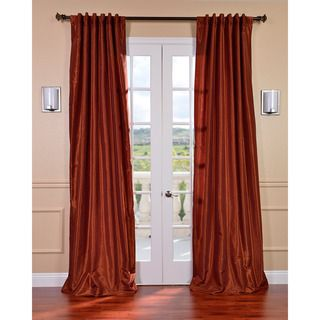 Burnt Orange Vintage Faux Dupioni Silk 96 inch Curtain Panel