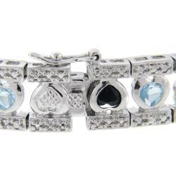 Sterling Silver Sapphire, Blue Topaz and Diamond Accent Heart Bracelet