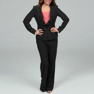 Anne Klein Womens Pinstriped Pant Suit