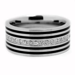 Stainless Steel Mens Resin and Cubic Zirconia Ring