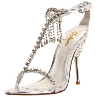 Celeste Womens Patricia 05 Silver Crystal draped T strap Heels