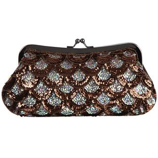 Carlo Fellini Sunflower Coral Sequined Evening Bag
