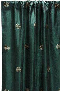 Embroidered Swirl Silk Drape 108l Hunter Green