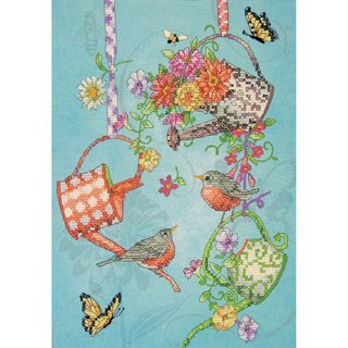 Blooming Watering Cans Stamped Cross Stitch Kit 10X14