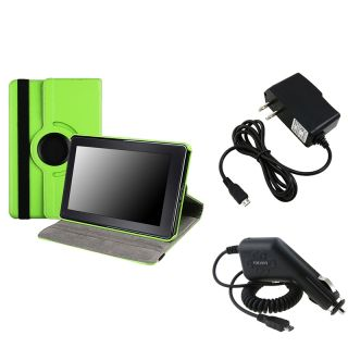 Green Leather Swivel Case/ Chargers for  Kindle Fire