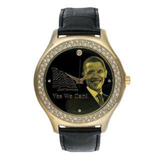 Barack Obama BO 2192 Mens Black Leather Strap Inauguration Watch