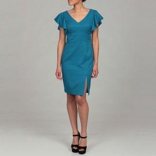Ellen Tracy Womens Azure Flutter Sleeve Dress