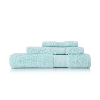Pima Cotton Diamond Tile Border Seafoam 3 piece Towel Set