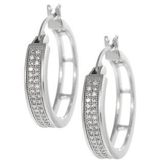 Silvertone Pave set Cubic Zirconia Hoop Earrings