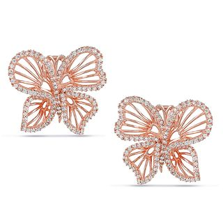 Miadora Rose plated Silver Cubic Zirconia Butterfly Earrings