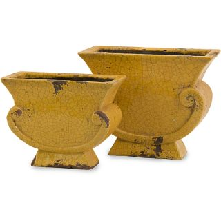 Set of 2 Argento Scroll Mustard Yellow Distressed Planters Today $77