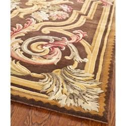 Asian Hand knotted Savonnerie Brown Wool Rug (8 x 10)
