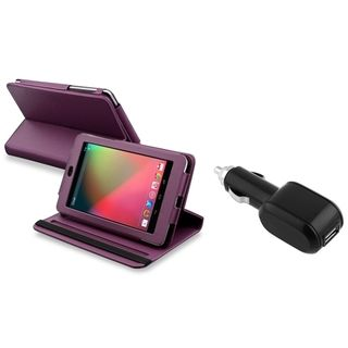 BasAcc Purple Swivel Case/ Car Charger for Google Nexus 7