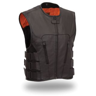 First Classics Mens Black Leather Swat Team style Vest
