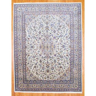 Persian Hand knotted Ivory/ Beige Kashan Wool Rug (98 x 125