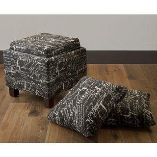Font Noir Ottoman with Accent Pillows