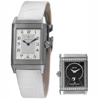 Jaeger LeCoultre Womens Reverso Duetto White Strap Diamond Watch