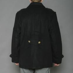 Imperious Mens Black Wool blend Double breasted Military Peacoat