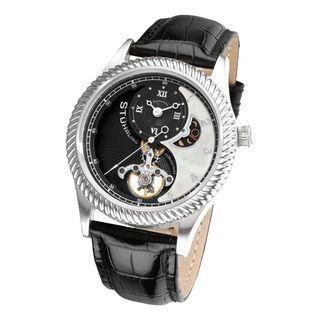 Stuhrling Original Mens Enigma Automatic Black Leather Strap Watch