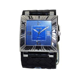 Nemesis Womens Romance Classic Blue on Black Leather Cuff Watch