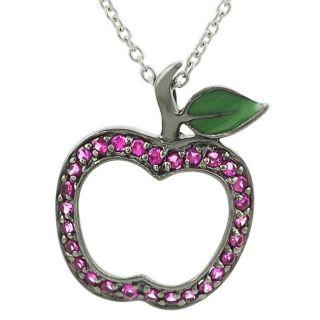 Tressa Sterling Silver Pink CZ Apple Necklace