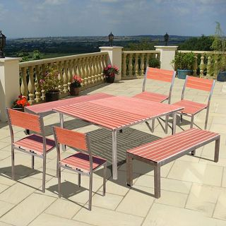 Casimir 59 Square Stainless Steel Frame 7 Piece Dining Table Set