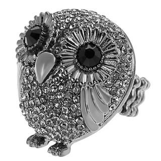 Journee Collection Rhodium plated Stainless Steel Owl Stretch Ring