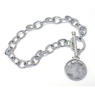 Sterling Silver Year To Remember Dime Coin Toggle Bracelet