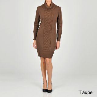 Lennie for Nina Leonard Womens Draped Turtleneck Sweater Dress