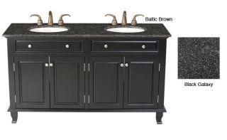 Stufurhome Seville 62 inch Granite Top Black Bathroom Vanity