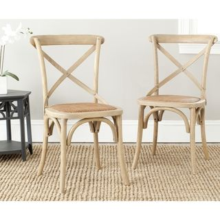 Classical Bradford X Back Grey Side Chairs (Set of 2)