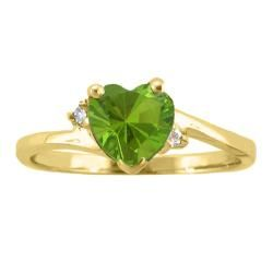10k Gold August Birthstone Peridot and Diamond Heart Ring