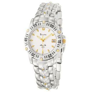 Bulova Mens Marine Star Goldtone and Stainless Steel Quartz Watch