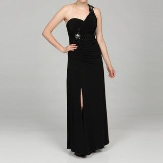 Hailey by Adrianna Papell Womens Black One shoulder Sequin Trim Dress