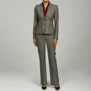Anne Klein Womens Single Breasted Plaid Pant Suit