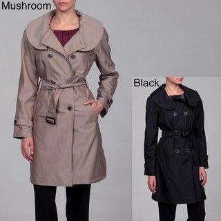 Anne Klein Womens Ruffle Collar Belted Coat