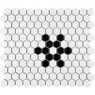 SomerTile 10.25x11.75 inch Victorian Hex 1 inch Matte White Snowflake