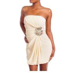 Stanzino Womens Cream Sequin Accent Strapless Dress
